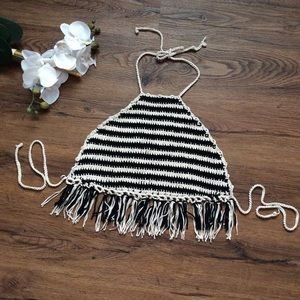 Forever 21 knit/crochet halter top with fringe M